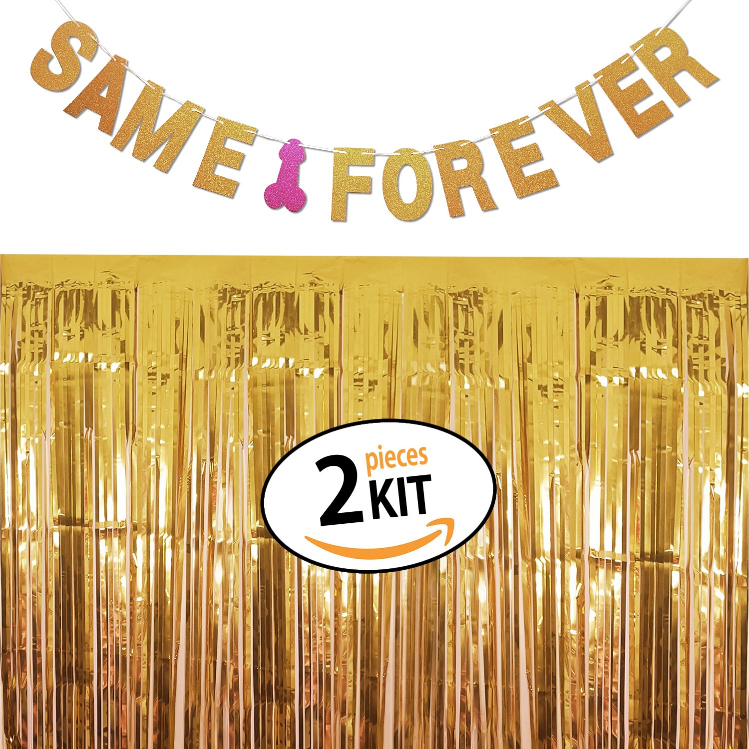 Amazon.com: Bachelorette Party Decorations Set | Same Penis Forever Banner  With Gold Foil Fringe Curtain, Perfect for Bride To Be Bridal Shower, ...