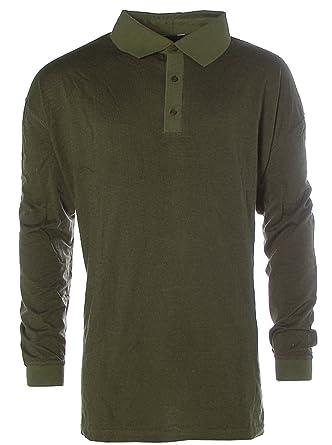 a48f65193118 Kitaro Herren Langarm Shirt Poloshirt Polokragen Pima Cotton Karo Oliv 6XL