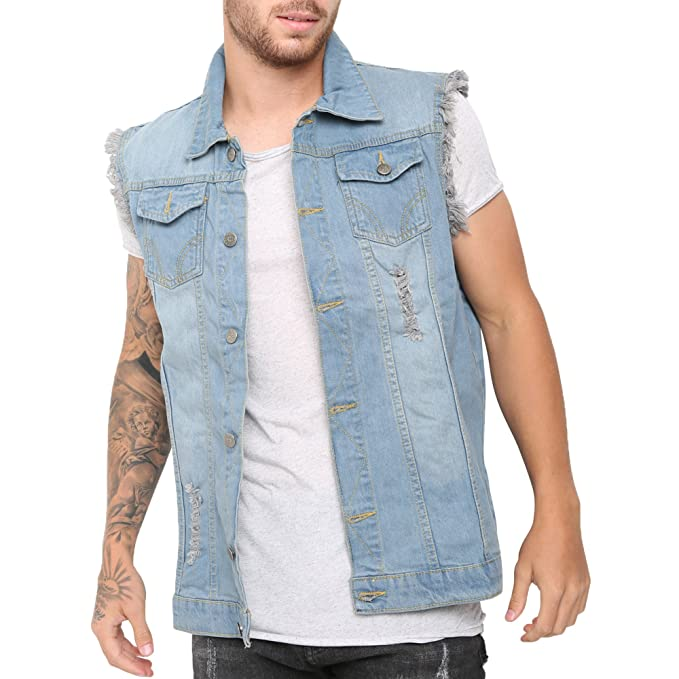 Kostuumvest Op Jeans.Skylinewears Men S Denim Lapel Vest Casual Sleeveless Slim Fit Button Up Jeans Biker Vests Jacket