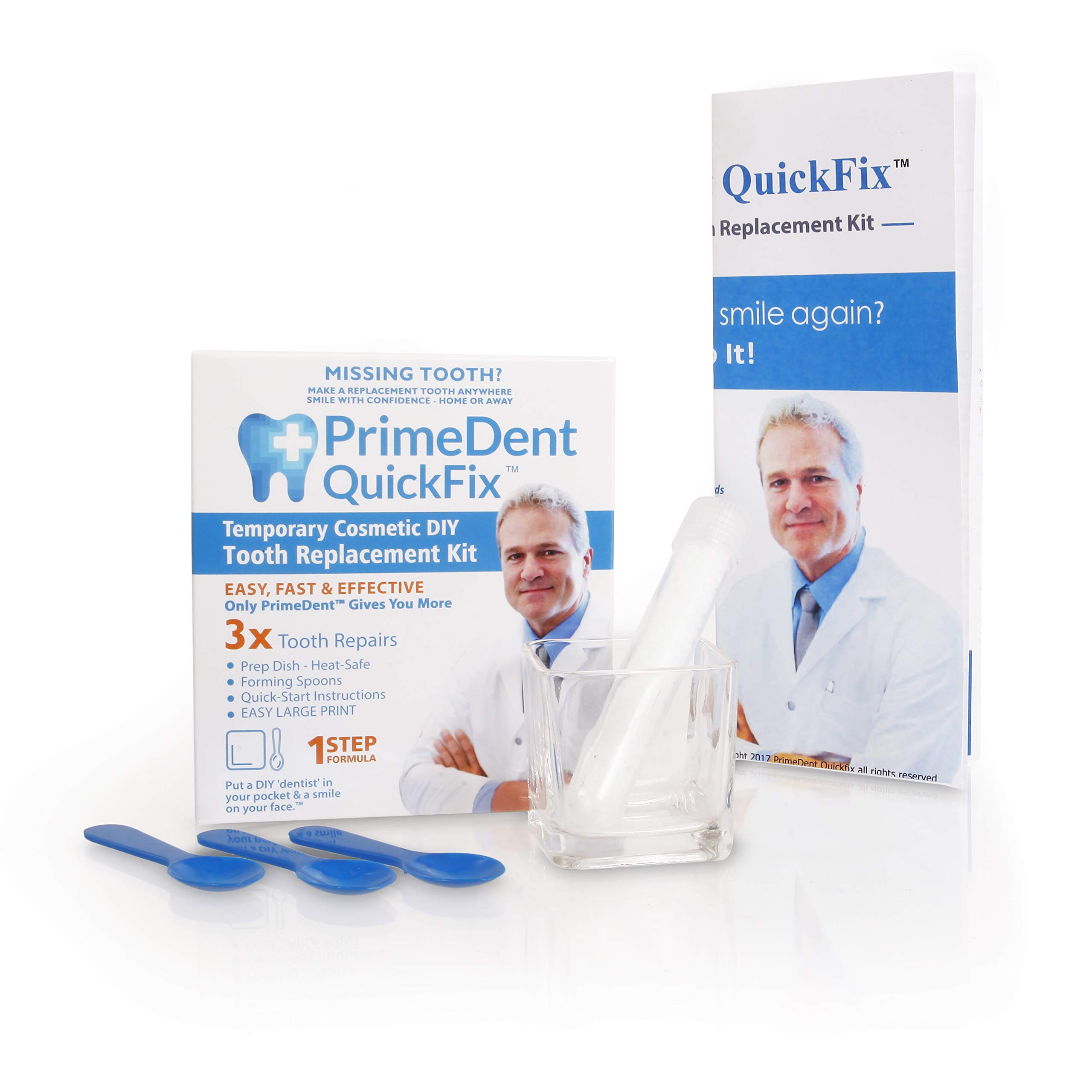 PrimeDent QuickFix #1 Temp for Missing Tooth Temporary Replacement Looks Real - (Material for 30 teeth, mixing dish, forming spoons)