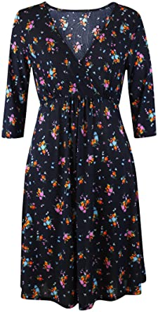 15b701cad1a08 Black Ditsy Floral Wrap Crossover Ladies Tea Dress 1940's Black Red Pink  Blue ...