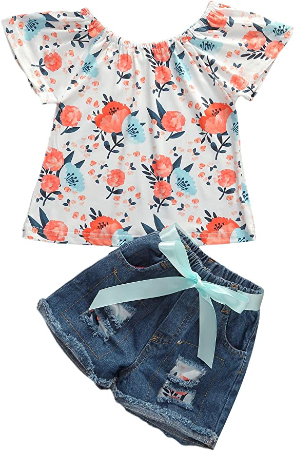 Toddler Kids Baby Cute Girls Off-Shoulder Tops+Denim Shorts+Belt Outfits Clothes