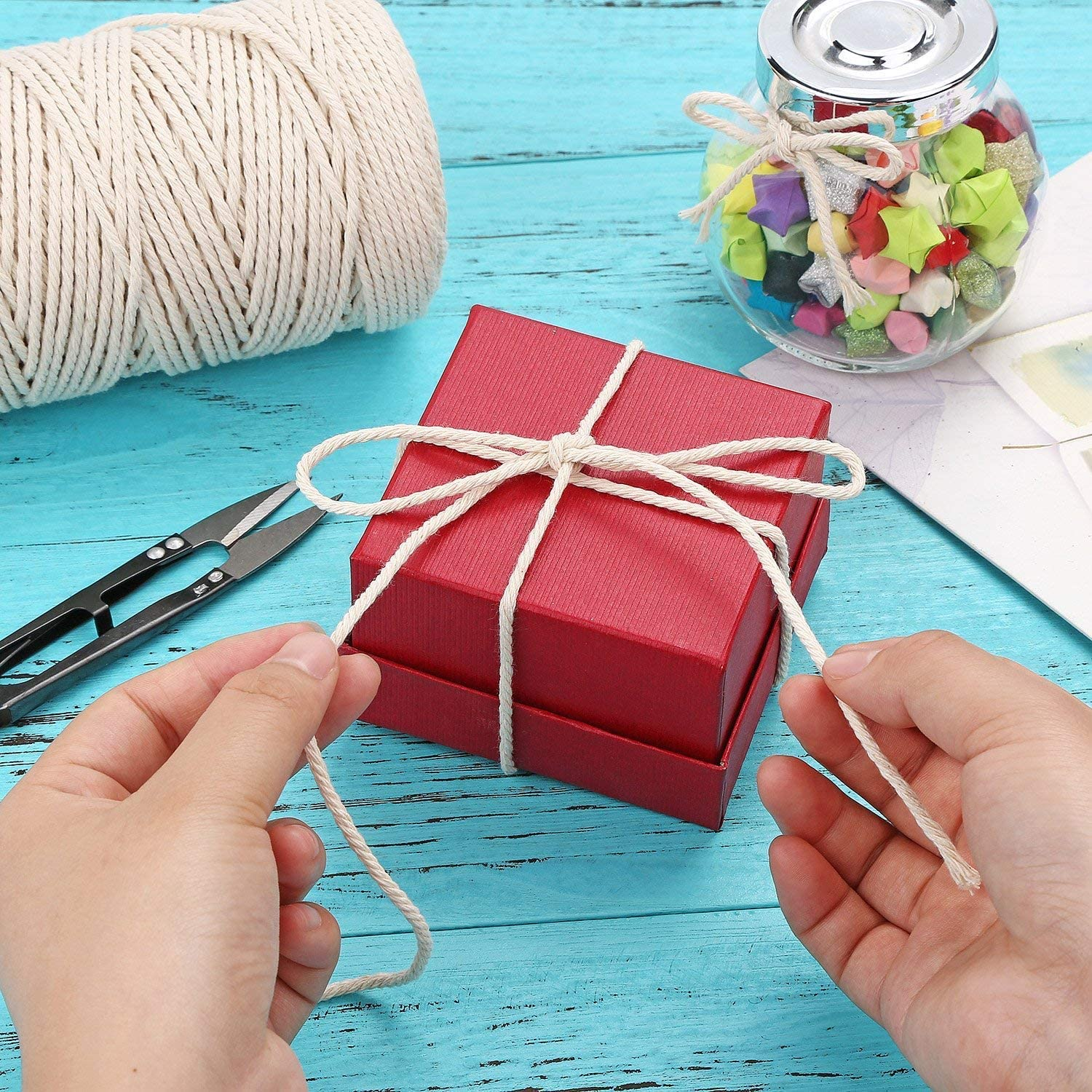 TsingYiStar 1MM x 657 Feet Cotton Rope Macrame Cord for Crafts Jewelry Making Home Decoration Gift Wrapping