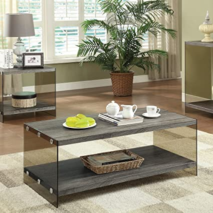 Merveilleux Coaster Contemporary Grey Coffee Table With Glass Sides