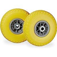 Relaxdays, geel-grijs 2 x steekwagenwiel, lekvrije massief rubberen banden, 3,00-4 inch, 20 mm as, tot 80 kg, 260 x 85…