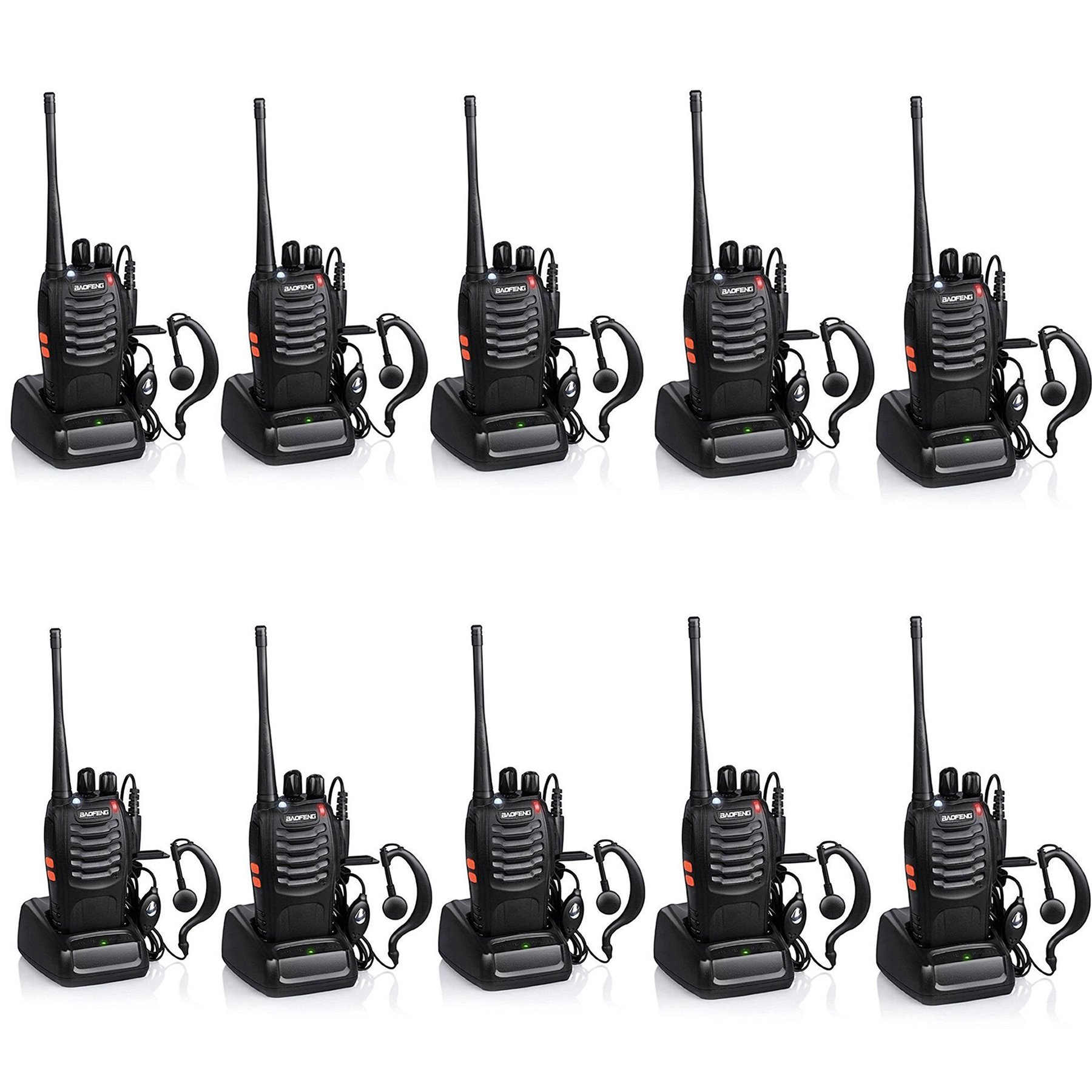 Baofeng BF-888S Rechargeable Long Range 5W Two Way Radio Walkie Talkies 16 Channel Handheld Radio Built in LED Torch Microphone With Earpiece(Pack of 10) 10 Pack