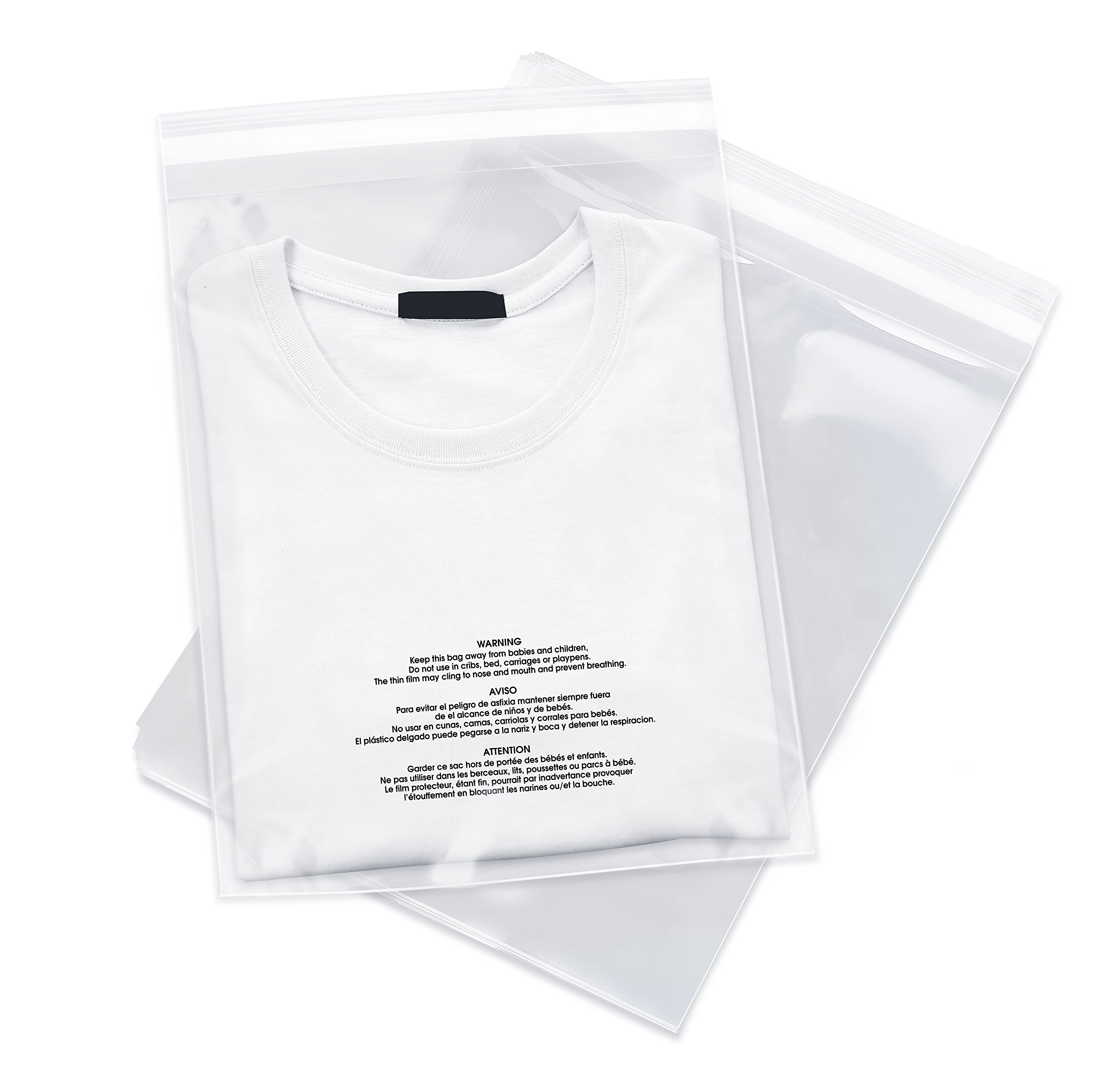 100 Count - 9 X 12 Self Seal 1.5 Mil Clear Plastic Poly Bags with Suffocation Warning - Permanent Adhesive by Spartan Industrial (More Sizes Available) by Spartan Industrial (Image #1)