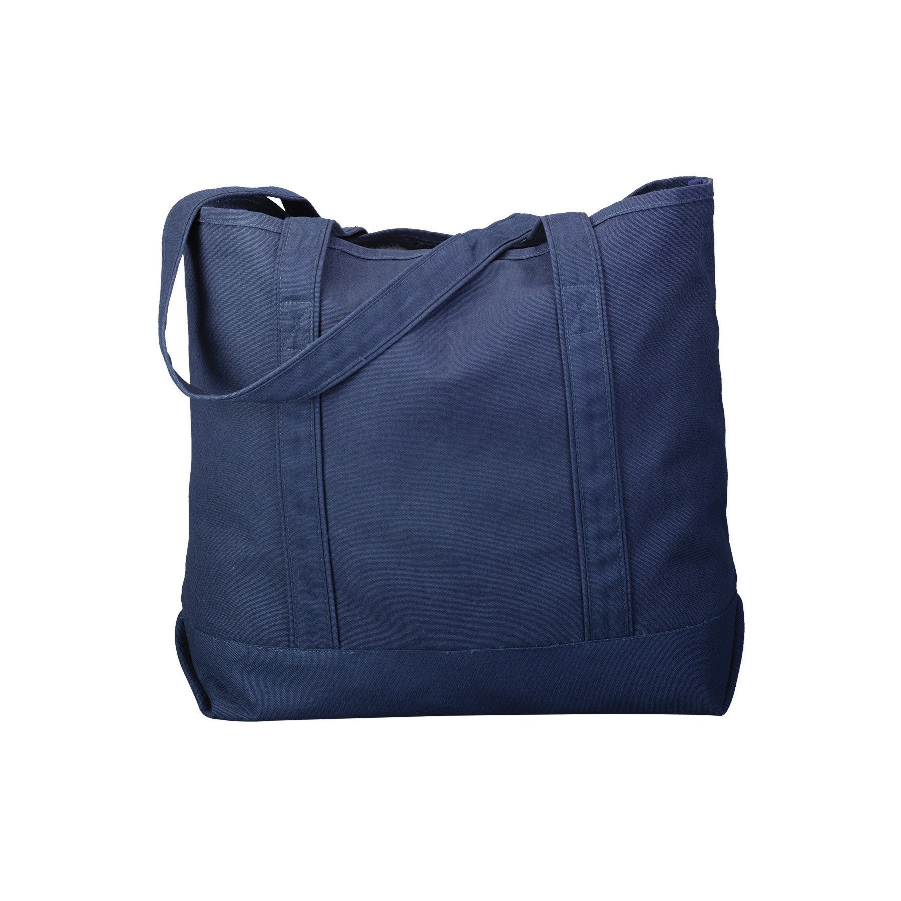 Canvas Tote Beach Bag - Strong Large Bags to Carry Beach Gear and Wet Towels. Large Open Main Compartment With Hook-and-Loop Closure and Shoulder Straps for Easy Carrying (Navy)