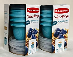 Rubbermaid TakeAlongs 18-Piece Set Meal Prep Food Storage Containers (3 Snack Cups with 3 Lids and 3 Inserts) 1.2 Cups TEAL