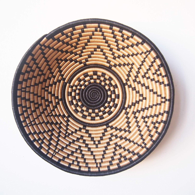Kitale//Rwanda Basket//Woven Bowl//Sisal /& Sweetgrass Basket//Black Tan 16 X-Large African Basket