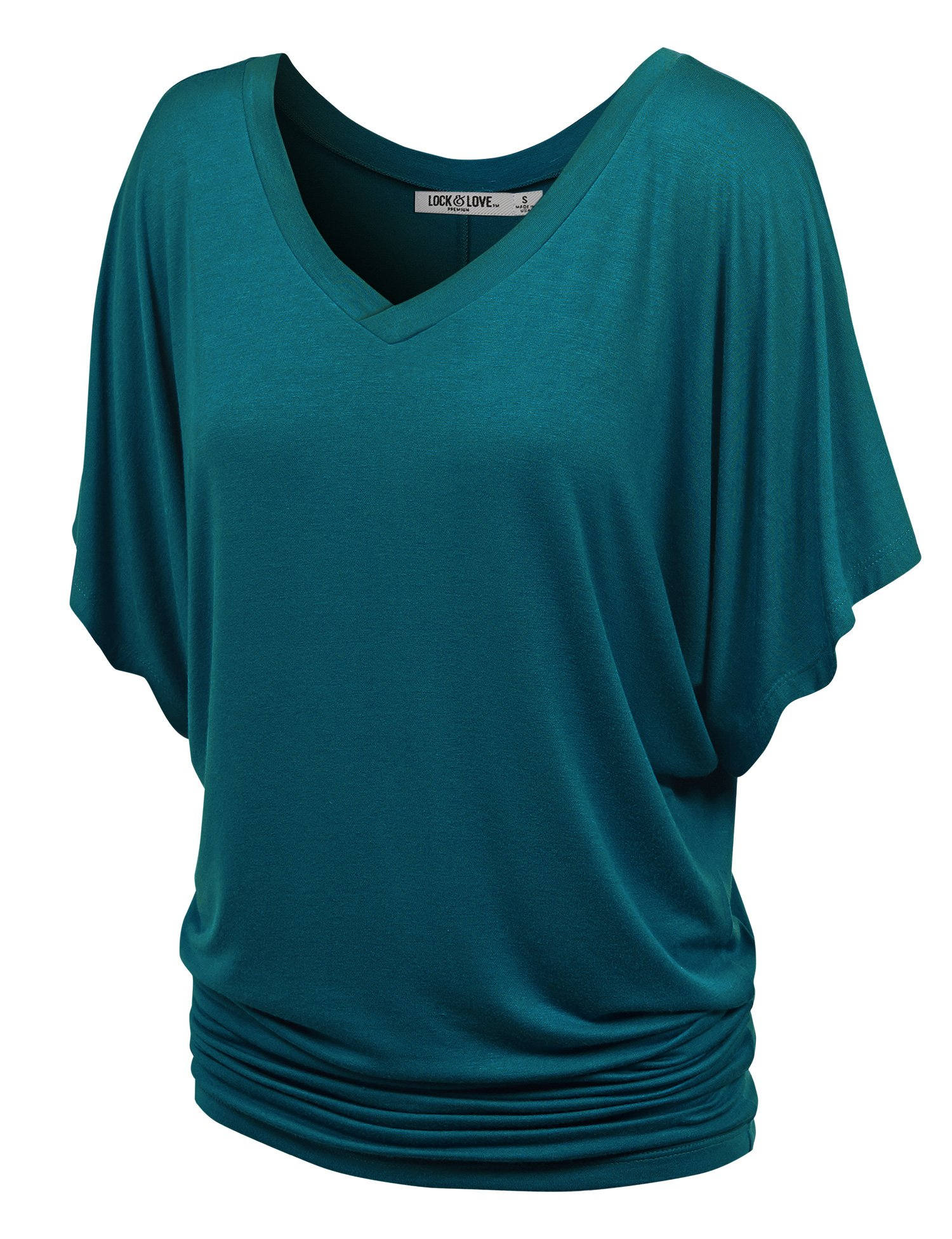 Lock and Love WT1038 Womens V Neck Short Sleeve Dolman Top L Teal