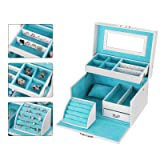 SONGMICS Girls Jewelry Box, Lockable Jewelry