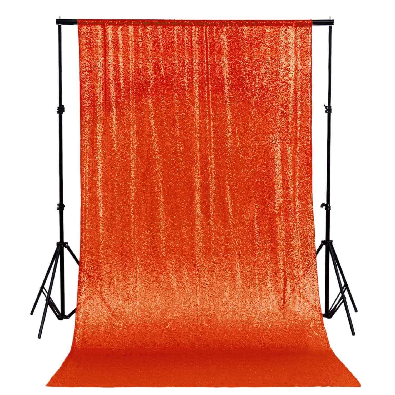 DUOBAO Sequin Backdrop Curtain 4FTx6FT Orange Glitter Background Orange Sequin Photo Backdrop Prom Party Decor~0613 by DUOBAO
