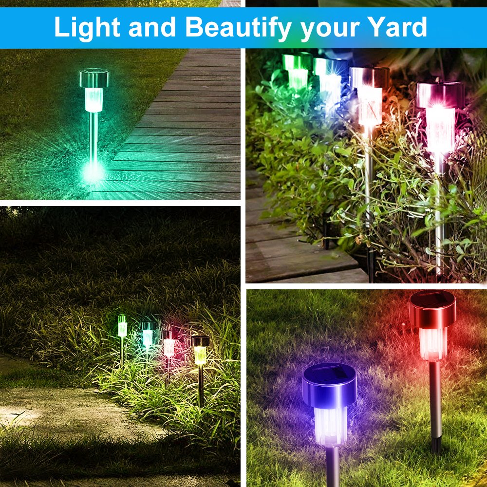 BASEIN Solar Garden Lights, Solar Lights Outdoor Pathway - Stainless Steel Landscape LED Lights for Patio, Lawn, Yard, Walkway (10 Pack) by BASEIN (Image #8)