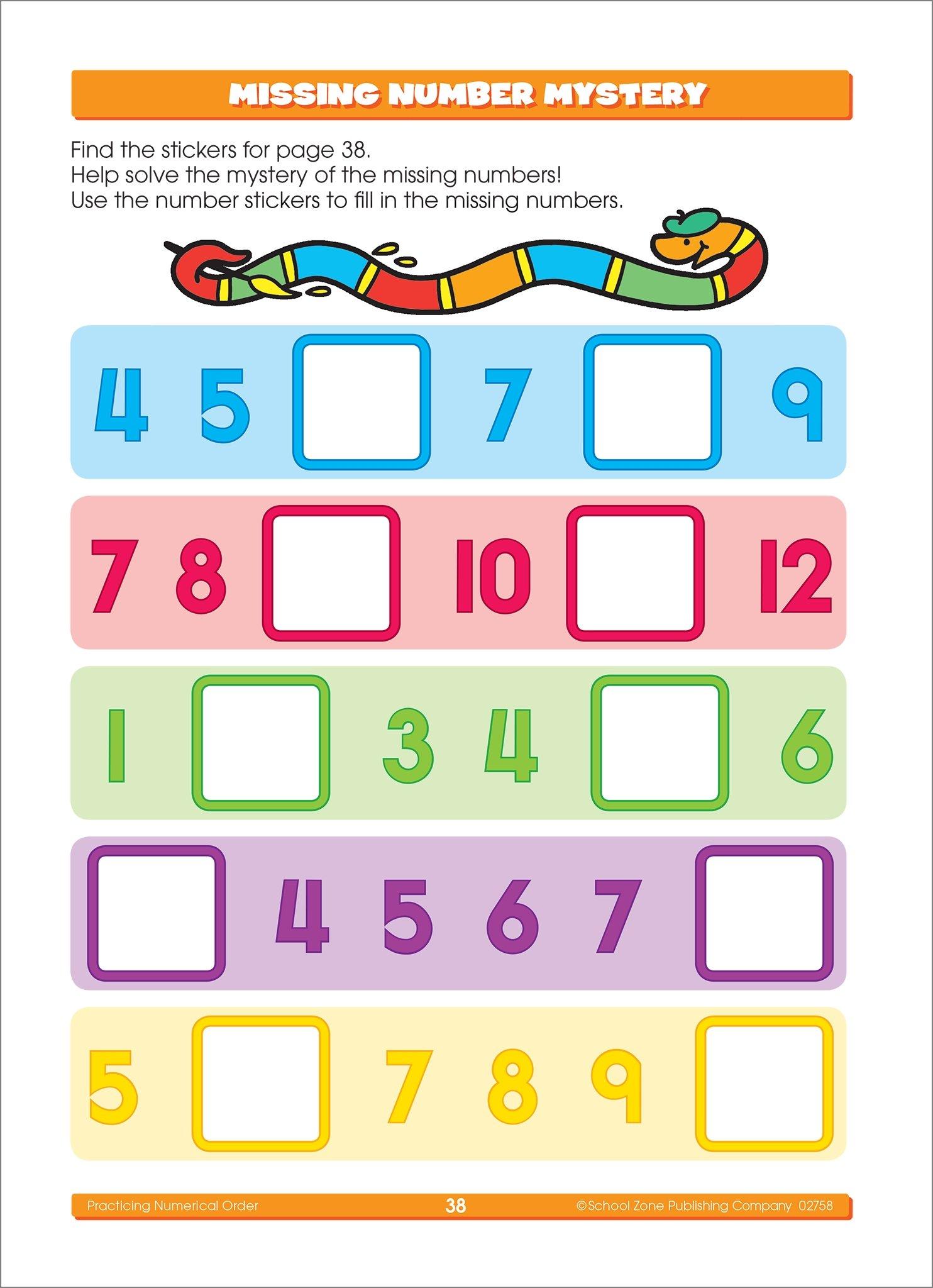 School Zone - Math Stickers Workbook - Ages 3 to 6, Grades Preschool ...