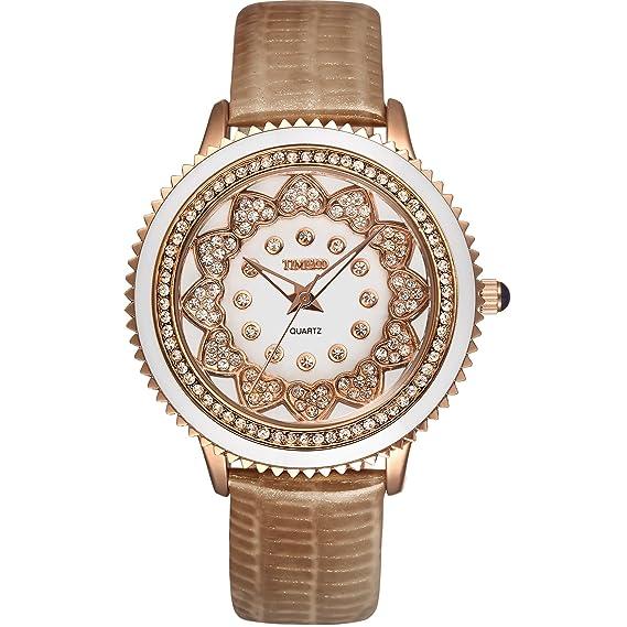 Time100 W50278L.04A reloj de mujeres correa de piel correa de color café esfera diamante