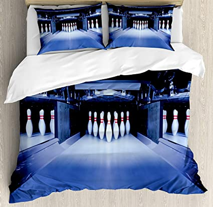 Libaoge 4 Piece Bed Sheets Set, Symmetric Bowling Pins In Empty Alley Hobby  Fun Challenge