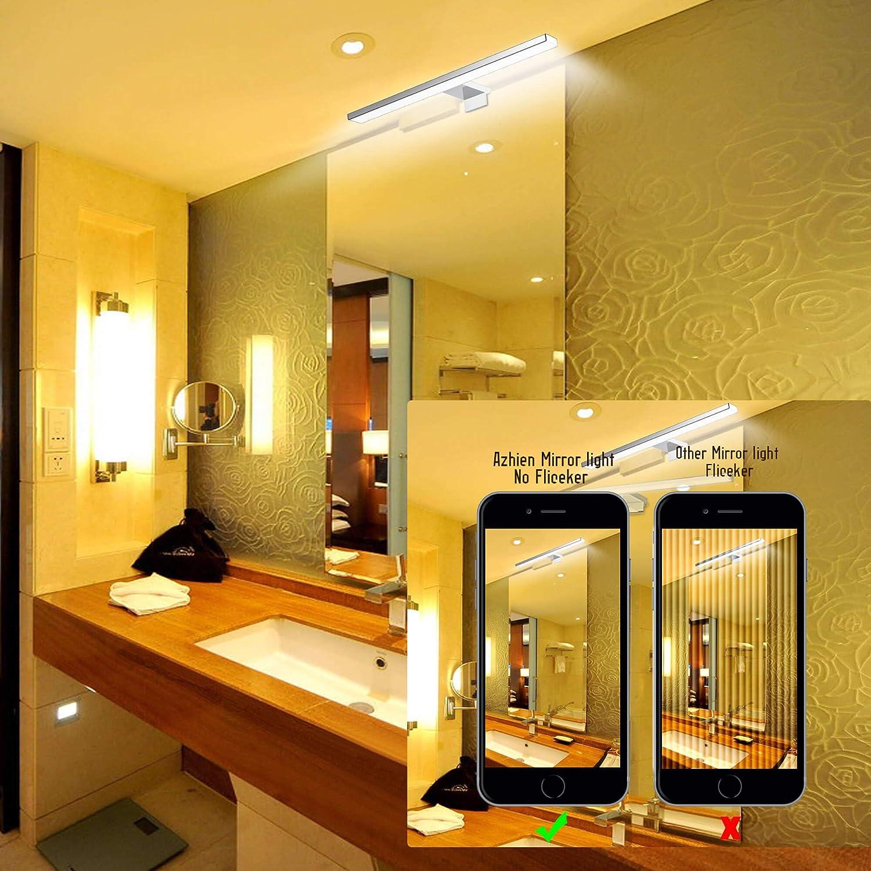 LED Spiegelleuchte Badezimmer 10W 820LM 40cm Kaltwei/ß 6000K Azhien,3in1 Montage IP44 230V Edelstahl Wandleuchte Spiegellampe 400mm,Kein Flimmern Badezimmerschrank Spiegelleuchten