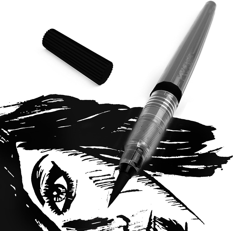 /Noir dencre Pigment/ées/ Pentel Couleur Brosse Pen/ /Edition /Corps gris/ /Pointe en nylon/