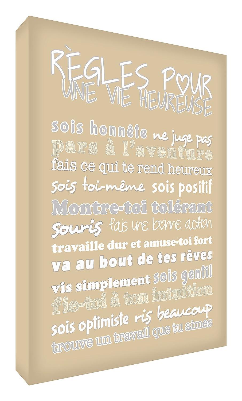 Feel Good Art Règles pour une Vie Heureuse Bloc Décoratif en Acrylique Vert Canard 14, 5 x 10, 5 x 2 cm HPLF-A6BLK-07FR