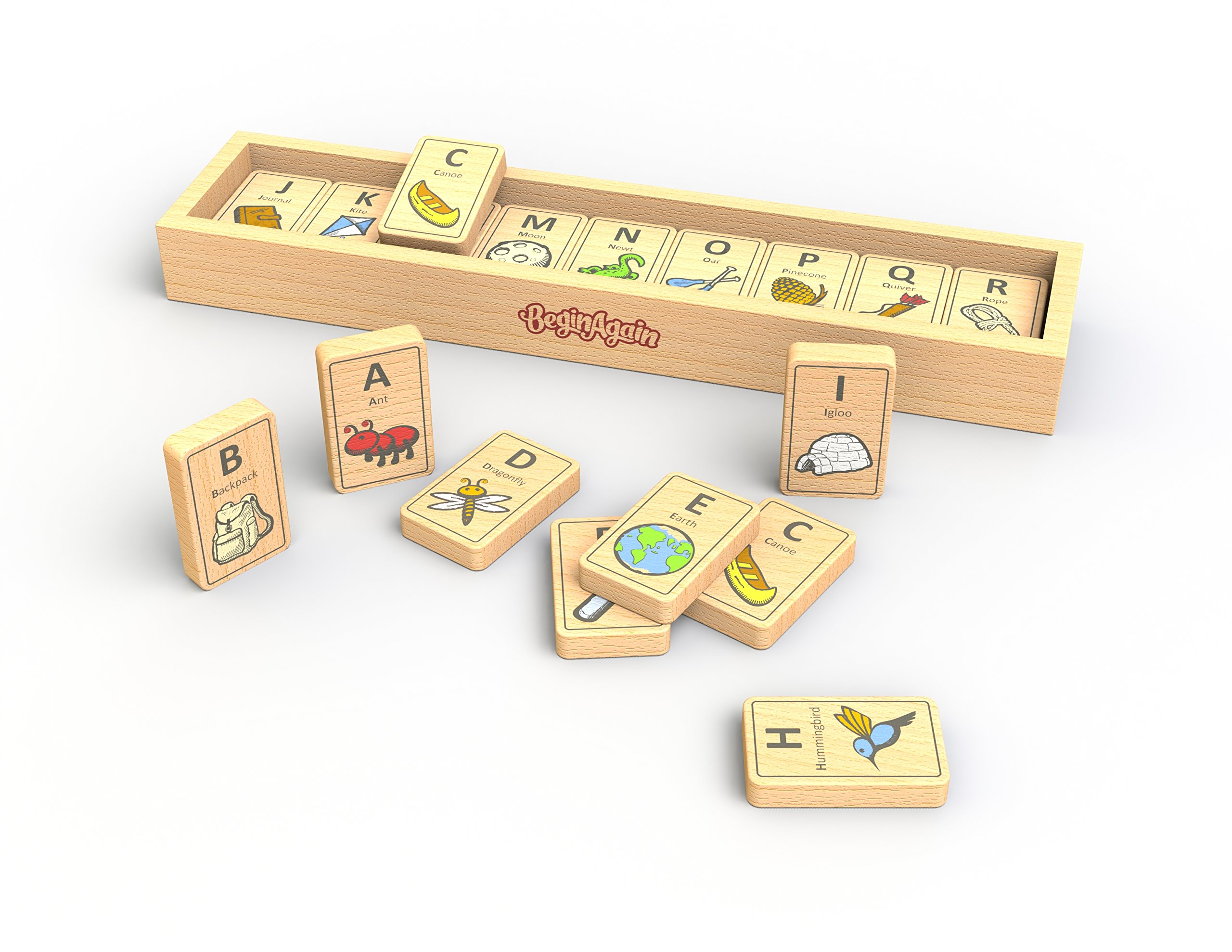 BeginAgain Alphabet Adventure Tiles, Make Learning Fun and Help Spark Your Child's Imagination, Educational Wooden Alphabet Game (For Kids 2 and Up)