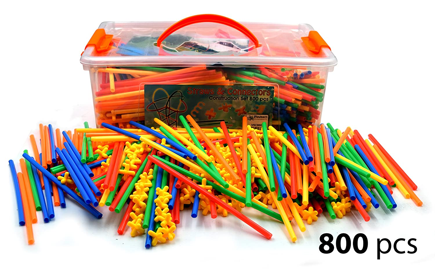 LARGE 800 Piece Straws Builders Construction Building Toy - Giant Pack with Special Connectors by Playlearn Review