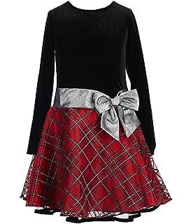 186804056810 Bonnie Jean Stretch Velvet to Glitter Flock Drop Waist Holiday Girls Dress