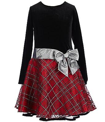 a38cb8e30c Bonnie Jean Stretch Velvet to Glitter Flock Drop Waist Holiday Girls Dress  (2T