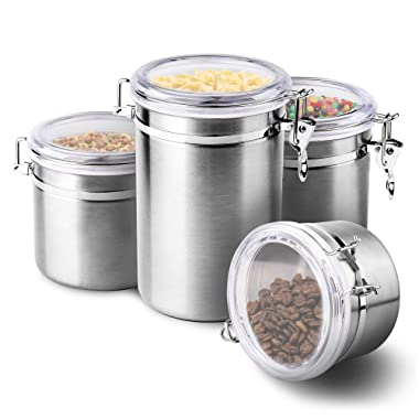 4-Piece Stainless Steel Airtight Canister Set, Food Storage Container for Kitchen Counter, Sugar, Coffee, Canister with Clear Acrylic Lid Locking Clamp 28 oz, 32 oz, 38 oz, 65 oz