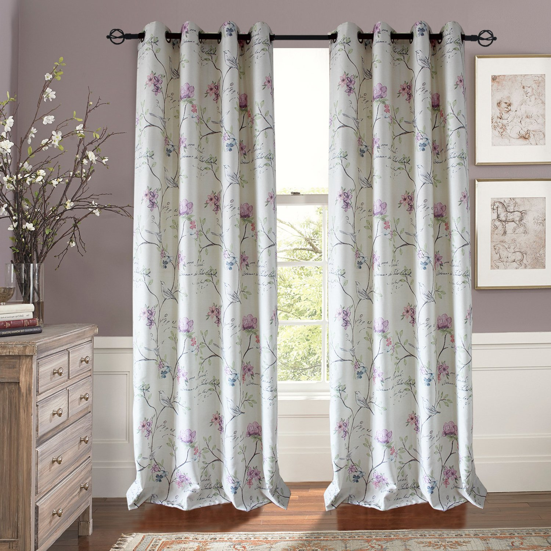 Amazon Anady Top Pinkpurpleblue Flower Curtains 2 Panel