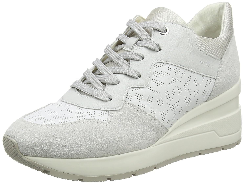 Geox D Zosma C, Zapatillas para Mujer 38 EU|Blanco (White/Off White)