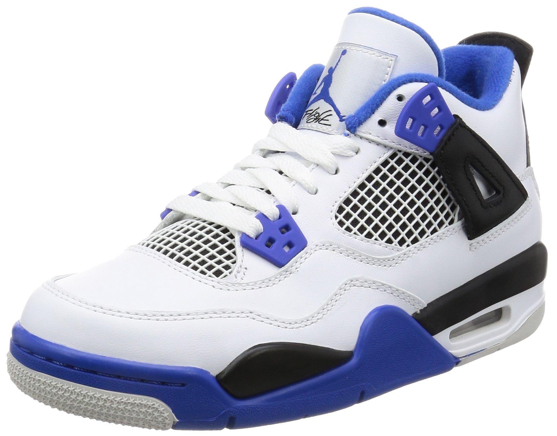 Nike Air Jordan 4 Retro BG Big Kids' Basketball Shoes White/Game Royal/Black, 6.5 by Jordan