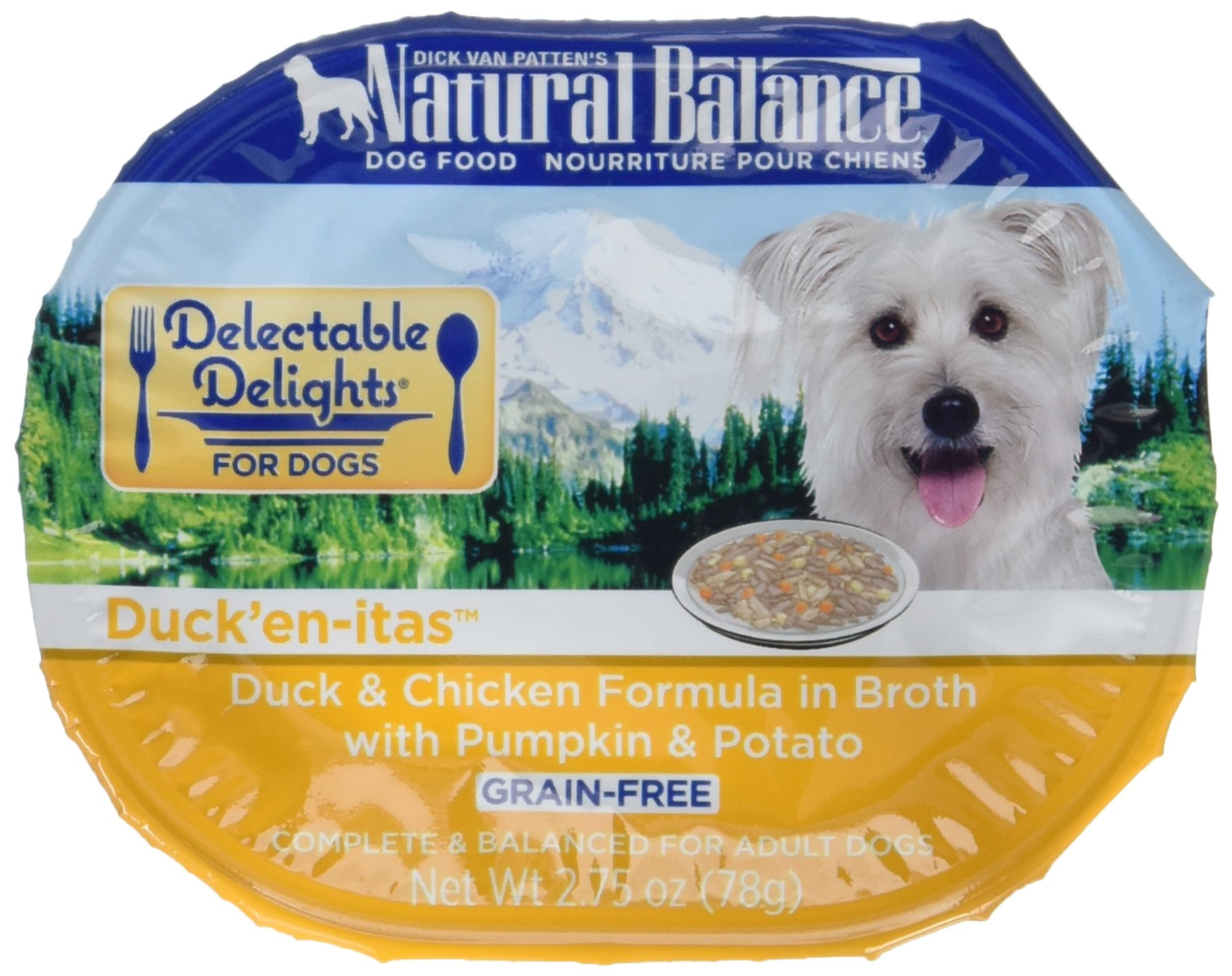 Natural Balance Delectable Delights Wet Dog Food Cups, Duck'En-Itas Duck And Chicken Formula In Broth With Pumpkin And Potato, 2.75 Oz (Pack Of 24) by Natural Balance