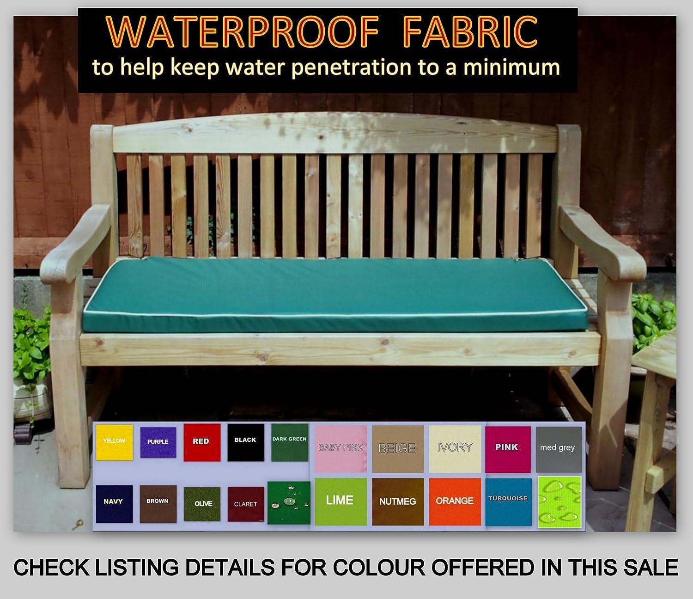 Green HWD: 8 x 118 x 52 cm Relaxdays Garden Bench Cushion Large Folding Seat Pad
