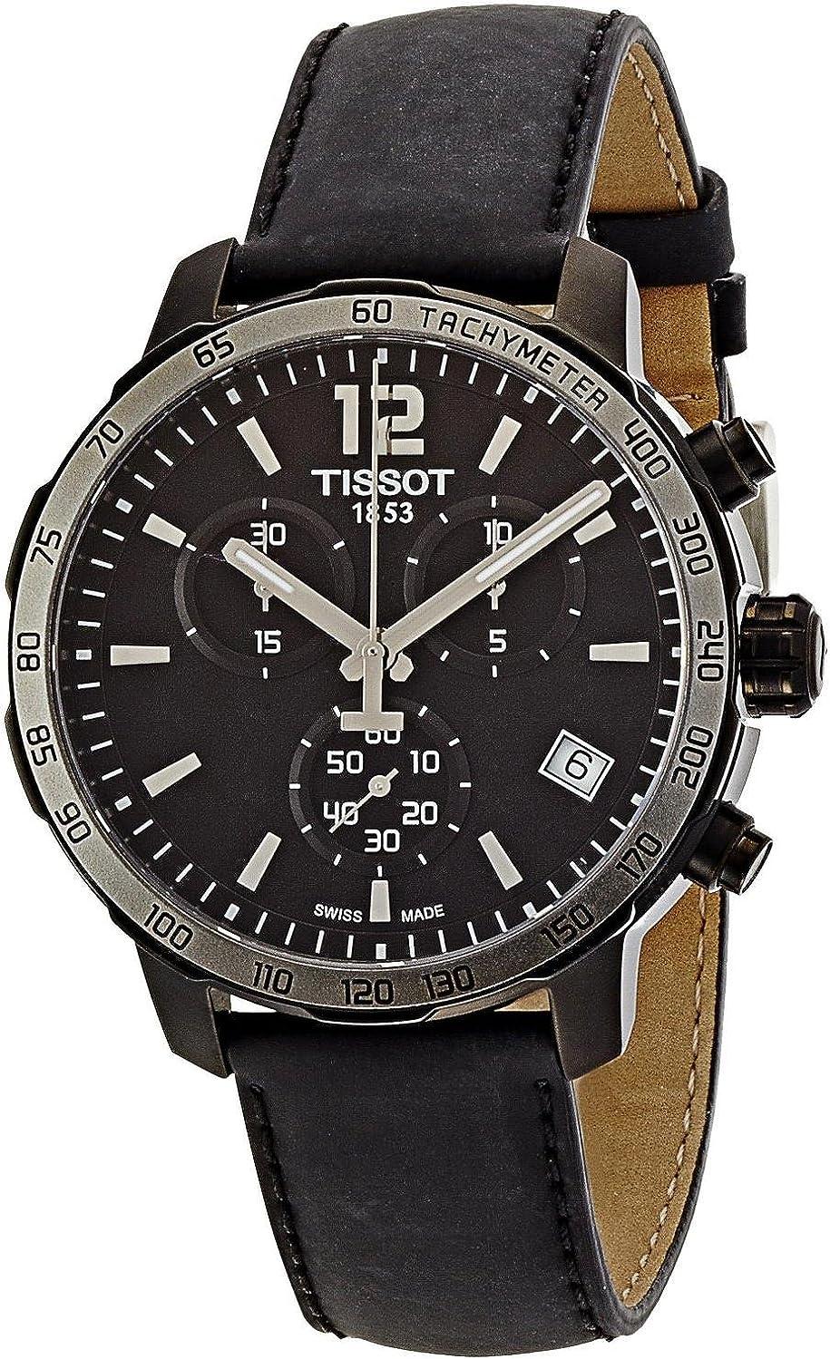 Tissot T0954173605702 Reloj cronógrafo de cuarzo, suizo, carcasa de acero, pulsera de cuero de ternero, color negro, 42 mm, de hombre