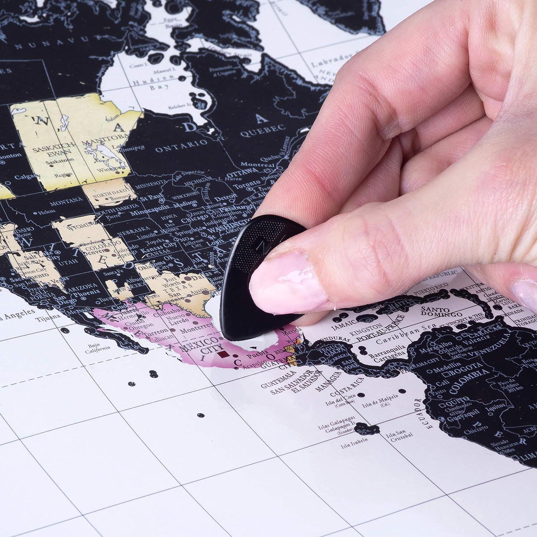 unico viaggio regalo per coppie Wenster scratch off World Map Deluxe personalizzato Globe Travel Tracker poster con illustrato usa e Australia stati grande A2/42/cm x 59.4/cm uomini e donne