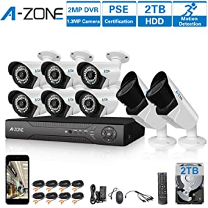 A-ZONE 8 CH 1080P DVR AHD Home Security Camera System