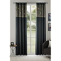 Linenwalas Hand Block Cotton Curtain with Cushion Cover and Korona, Slub Linen Sheer Curtains