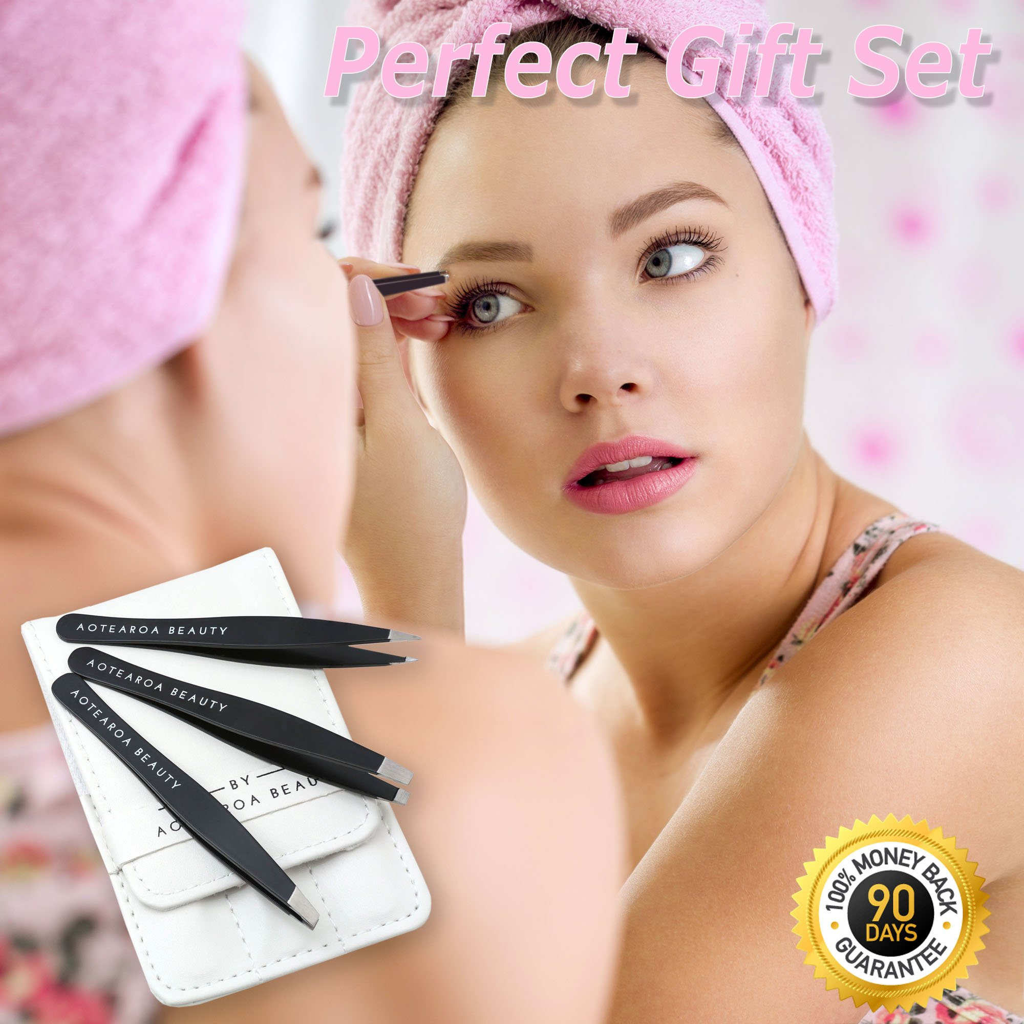 Tweezers for Eyebrows Set Of Three- Includes Case With Professional Pointed Needle Nose, Slant & Straight Precision Stainless Steel- Ingrown Hair Nose, Hair Eyebrow & Splinters