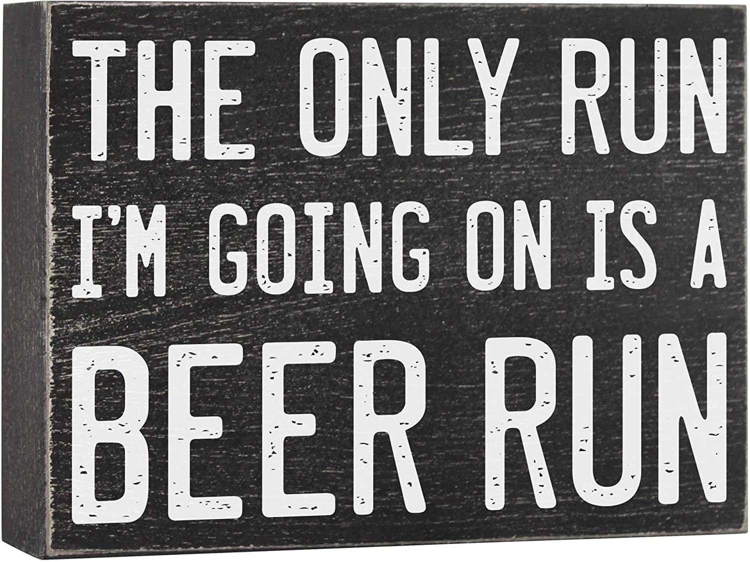 Bar Sign for Home Decor - Beer Run Funny Box Sign 6x8 Drinking Gifts for Men - Beer Signs for Man Caves