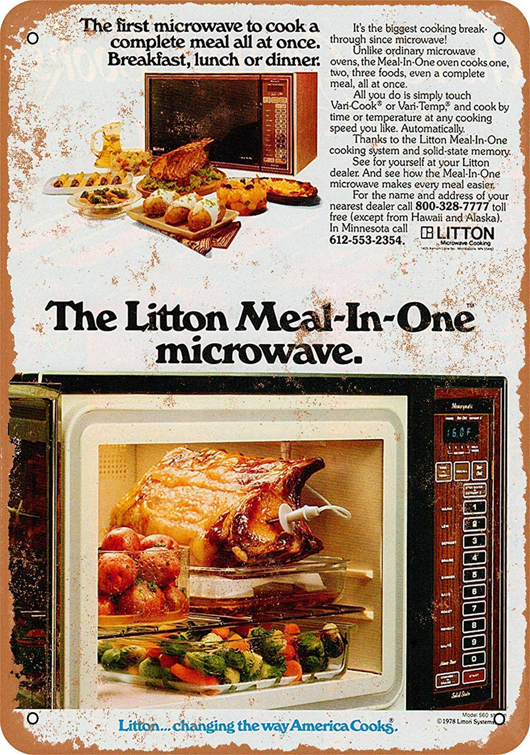 Aluminum Metal Sign for tin Signs 12x16inch,1972 Litton Microwave Oven-Best in Metal Sign Retro Home Decoration Vintage Tin Sign Posters for Bar Pub Home