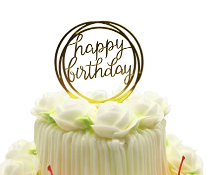 Amazon Happy Birthday Cake Topper KOOTIPS Acrylic Gold Twinkle DIY Glitter First Cupcake Smash Candle Alternative Party Handmade