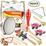 Povkeever 14 PCS Wooden Musical Instruments Set Percussion Toy Rhythm Band Set, Healthy Baby Toy Gift, with A Bag