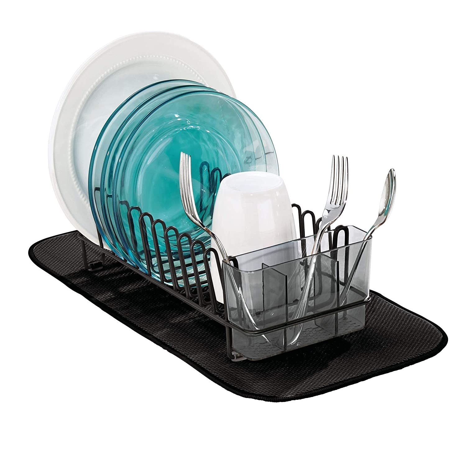 mDesign Compact Modern Metal Dish Drying Rack and Microfiber Mat Set for Kitchen Countertop, Sink - Drain and Dry Wine Glasses, Bowls and Dishes - Removable Cutlery Tray - Set of 2 - Black/Smoke Gray