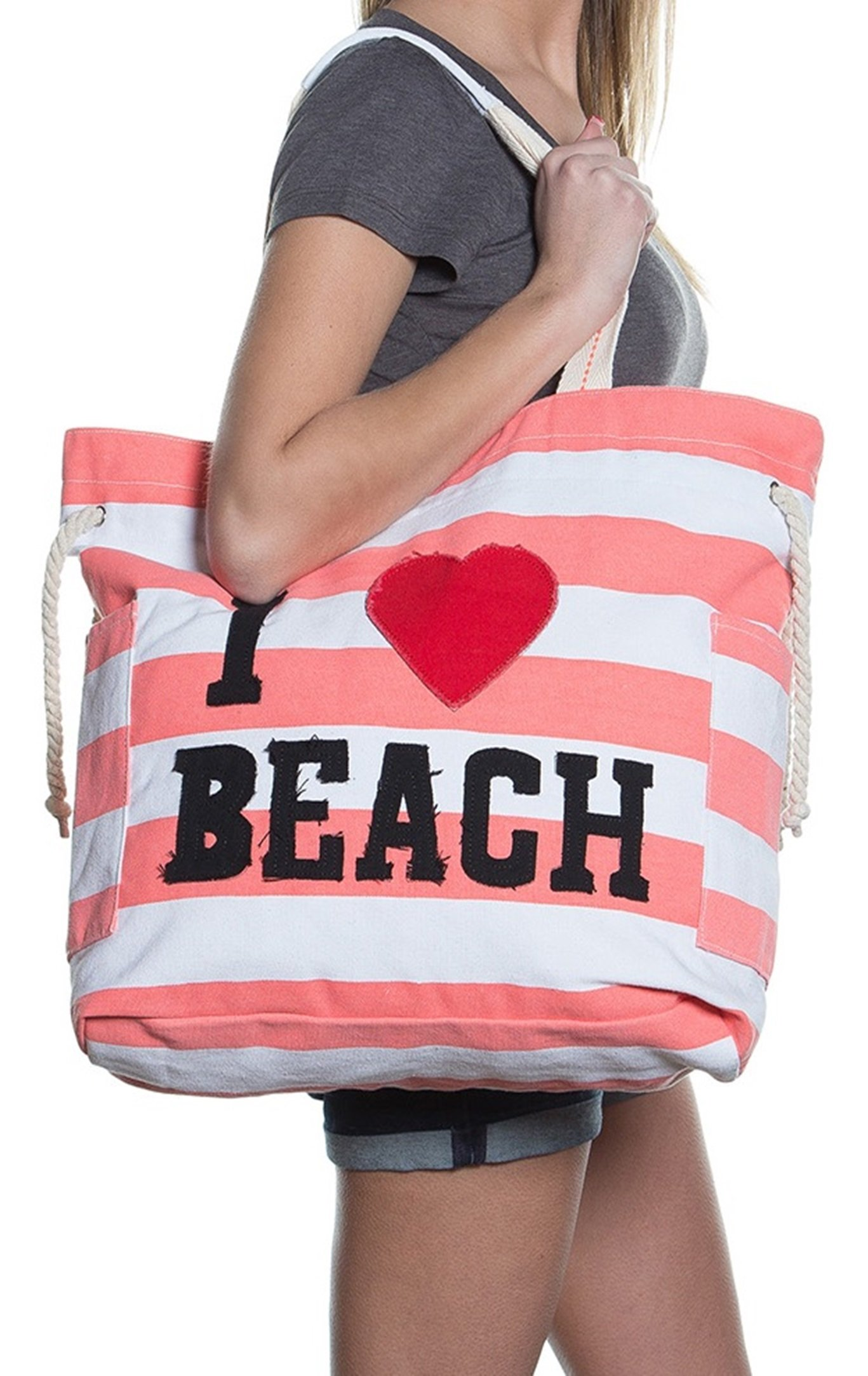 Beach Bags - Extra Large Waterproof Canvas Striped Beach Bag Tote For Women