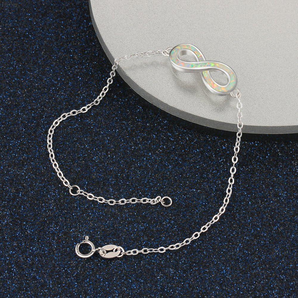 YAZLIND S925 Sterling Silver Bracelet Adjustable Fashion Inverted 8 Shaped Inlaid Opal Elegant Jewellery Gift for Women Girls