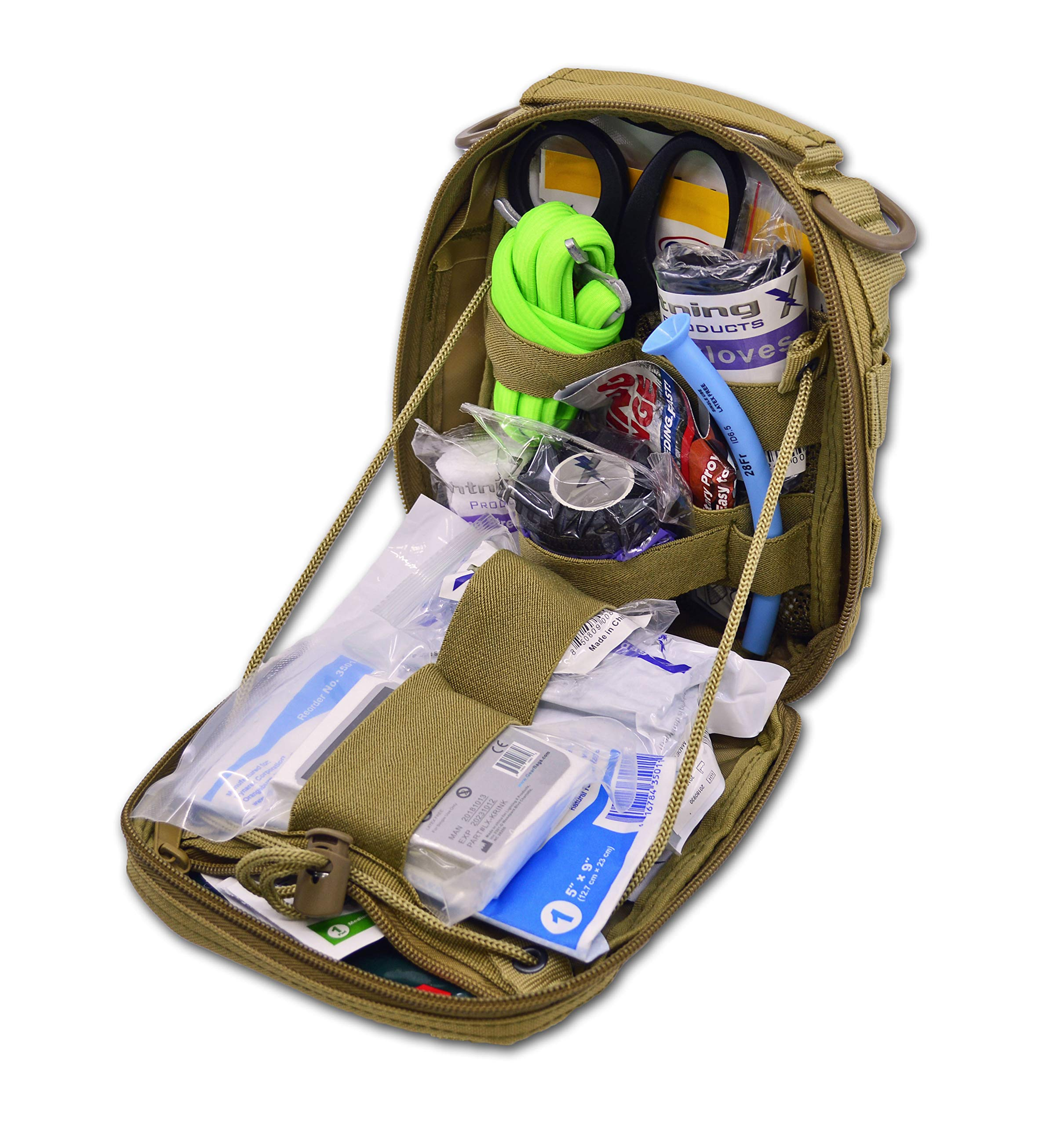 Lightning X Gunshot Trauma/Hemorrhage Control Kit in MOLLE IFAK Pouch - TAN by Lightning X Products