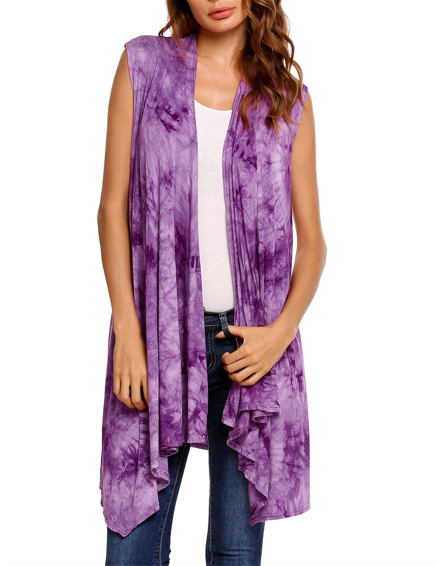 Zeagoo Women's Classic Solid Color Sleeveless Asymetric Hem Open Front Cardigan Purple L