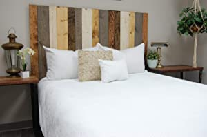 Rustic Mix Headboard California King Size, Hanger Style, Handcrafted. Mounts on Wall. Easy Installation