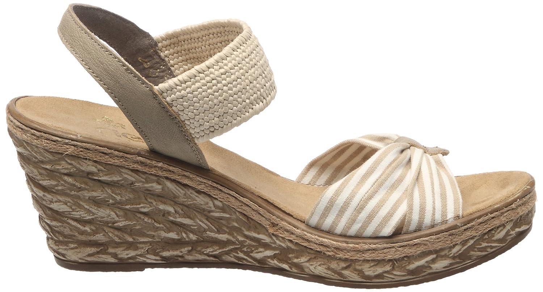 69472, Damen Offene Sandalen mit Keilabsatz, Beige (beige-weiss lino  65a7c26183